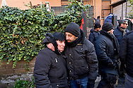 Rome, Italy. 20th January 2016<br /> Francesca precarious worker and Santo his mate ill with multiple sclerosis have been evicted for non-payment from the house where they lived in the Torreveccchia district on the outskirts of Rome. In the pictured: Francesca just evicted is comforted by an activist of the movement for the right to housing.