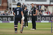 Stuart Meaker stands with this hands on his hips as overthrows finds the boundary during the Royal London One Day Cup match between Warwickshire County Cricket Club and Surrey County Cricket Club at Lord's Cricket Ground, St John's Wood, United Kingdom on 17 September 2016. Photo by David Vokes.