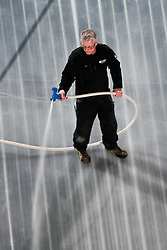 Worker preparing Ice in Arena Stozice for World Championship Div. I on April 10, 2012 at SRC Stozice, Ljubljana, Slovenia. (Photo By Matic Klansek Velej / Sportida.com)