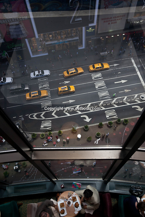 New York Times square, , elevated view , traffic on broadway and 7th avenue , yellow cabs , United states