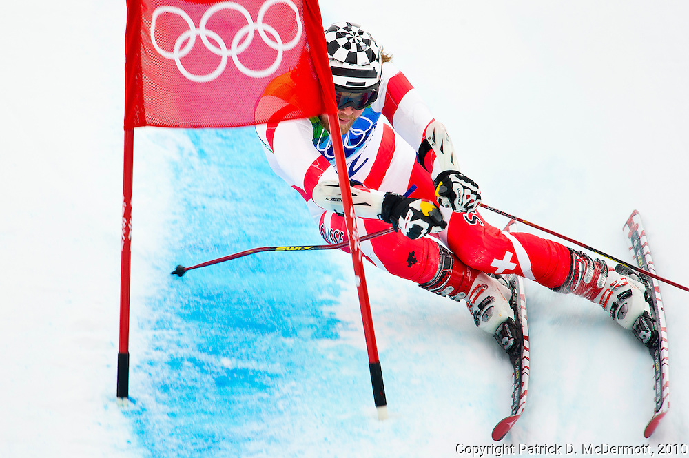Marc Berthod of Switzerland competes during the Alpine Skiing Men's Giant Slalom on day 12 of the Vancouver 2010 Winter Olympics at Whistler Creekside on February 23, 2010 in Whistler, Canada.