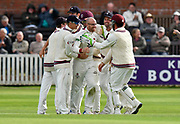 Wicket - Jack Leach of Somerset celebrates taking the wicket of Shivnarine Chanderpaul of Lancashire during the Specsavers County Champ Div 1 match between Somerset County Cricket Club and Lancashire County Cricket Club at the Cooper Associates County Ground, Taunton, United Kingdom on 13 September 2017. Photo by Graham Hunt.