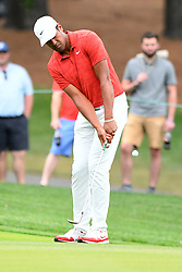 May 3, 2019 - Charlotte, NC, U.S. - CHARLOTTE, NC - MAY 03: Tony Finau chips the ball on hole 10 in round two of the Wells Fargo Championship on March 03, 2019 at Quail Hollow Club in Charlotte,NC. (Photo by Dannie Walls/Icon Sportswire) (Credit Image: © Dannie Walls/Icon SMI via ZUMA Press)