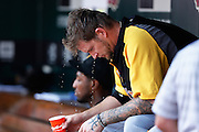 ST. LOUIS, MO - JUNE 30: A.J. Burnett #34 of the Pittsburgh Pirates cools down while sitting in the dugout during the game against the St. Louis Cardinals at Busch Stadium on June 30, 2012 in St. Louis, Missouri. The Pirates won 7-3 as temperatures reached 103 degrees during the game. (Photo by Joe Robbins)