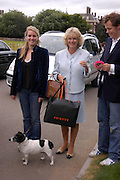 Laura Parker Bowles, The Duchess of Cornwall ,her Jack Russell 'Tosca' Cornwall and Tom Parker Bowles.  Macmillan Dog Day in aid of Macmillan Cancer Relief. Royal Hospital Chelsea, 5 July 2005. ONE TIME USE ONLY - DO NOT ARCHIVE  © Copyright Photograph by Dafydd Jones 66 Stockwell Park Rd. London SW9 0DA Tel 020 7733 0108 www.dafjones.com