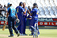 Claude Henderson of The Cobras celebrates the wicket of Farhaan Behardien of the Titans during the Standard Bank Pro20 semi final match between the Nashua Mobile Cape Cobras and the Nashua Titans held at Sahara Park Newlands in Cape Town on the 27 February 2011..Photo by Ron Gaunt/SPORTZPICS