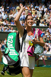 LONDON, ENGLAND - Saturday, June 28, 2008: Jelena Jankovic (SRB) walks off court following her third round victory on day six of the Wimbledon Lawn Tennis Championships at the All England Lawn Tennis and Croquet Club. (Photo by David Rawcliffe/Propaganda)