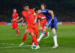 Thiago Silva of Paris Saint-Germain blocks a shot from Diego Costa of Chelsea - Photo mandatory by-line: Rogan Thomson/JMP - 07966 386802 - 11/03/2015 - SPORT - FOOTBALL - London, England - Stamford Bridge - Chelsea v Paris Saint-Germain - UEFA Champions League Round of 16 Second Leg.