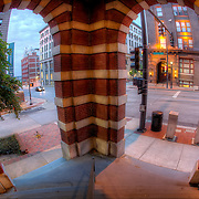 Fisheye photo from entrance of building at 8th and Broadway, downtown Kansas City, Missouri.