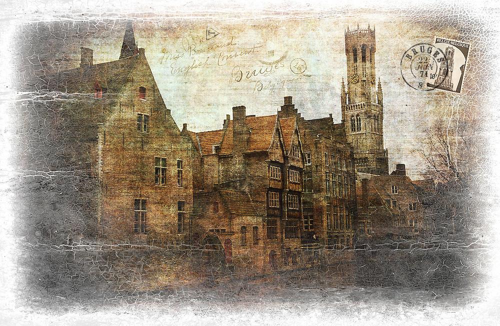 Bruges, Belgium - Forgotten Postcard digital art collage
