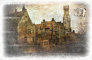 Bruges, Belgium - Forgotten Postcard digital art collage