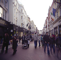 Shopping area; Grafton street in Dublin Ireland on a busy day
