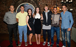 LIVERPOOL, ENGLAND - Thursday, June 18, 2015: Players and sponsors Omid Alizadehkhaiyat (Liverpool Hope University), Pablo Andujar (ESP), xxxx and xxxx from Merseyrail, Andrey Rublev (RUS), Damir Dzumhur (BIH) and Algae Bedene (GBR) at Alma De Cuba during a players' dinner on Day 1 of the Liverpool Hope University International Tennis Tournament at Liverpool Cricket Club. (Pic by David Rawcliffe/Propaganda)