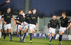 Falkirk's Blair Alston cele scoring their goal. <br /> Half time : Falkirk 1 v 0 Dumbarton, Scottish Championship game played 26/12/2015 at The Falkirk Stadium.