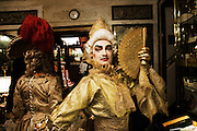 A carnival character in costume poses in caffe Florian in Venice during the carnival.