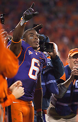 November 21, 2009; Clemson, SC, USA; Clemson Tigers wide receiver Jacoby Ford (6) celebrates after the game against the Virginia Cavaliers at Memorial Stadium.  Clemson defeated Virginia 34-21.
