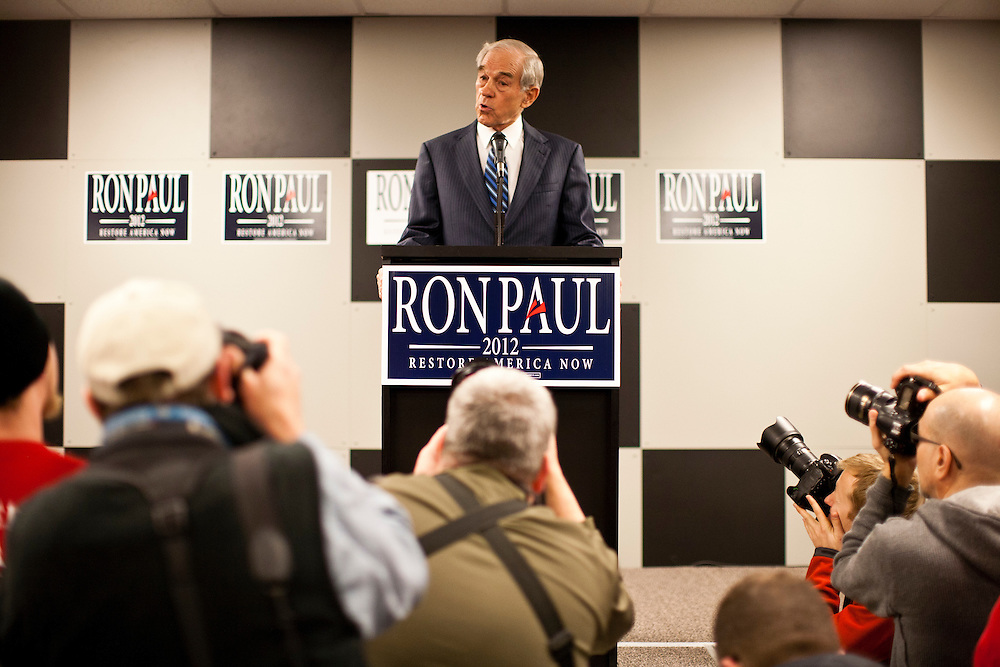 Republican presidential candidate Ron Paul holds a campaign town hall meeting on Wednesday, December 28, 2011 in Newton, IA.