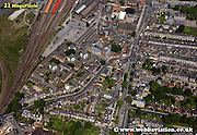 aerial photograph of  Holgate Road   York Yorkshire England UK   Drone style aerial view taken in York Great Britain