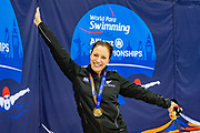 Sophie Pascoe of New Zealand with her Gold Medal for winning the Women's 50 m Freestyle S9 during the World Para Swimming Championships 2019 Day 7 held at London Aquatics Centre, London, United Kingdom on 15 September 2019.