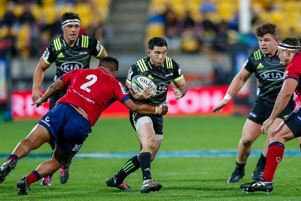 Nehe Milner-Skudder during the Super rugby union game (Round 14) played between Hurricanes v Reds, on 18 May 2018, at Westpac Stadium, Wellington, New  Zealand.    Hurricanes won 38-34.