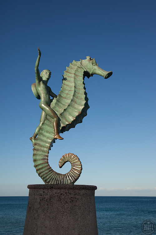 """The Seahorse, Puerto Vallarta 2"" - This boy on a seahorse statue was photographed at the Malecon in Puerto Vallarta, Mexico."