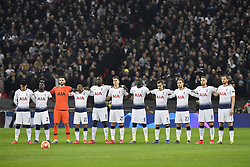 February 13, 2019 - London, England, United Kingdom - Players of Tottenham Hotspur FC stands during the silence moment held in the memory of Emiliano Sala  during the UEFA Champions League, Round of 16 1st leg, 13 match between Tottenham Hotspur FC and Borussia Dortmund, on 13 February 2019, at Wembley Stadium, in London, UK. (Credit Image: © Alex Nicodim/NurPhoto via ZUMA Press)