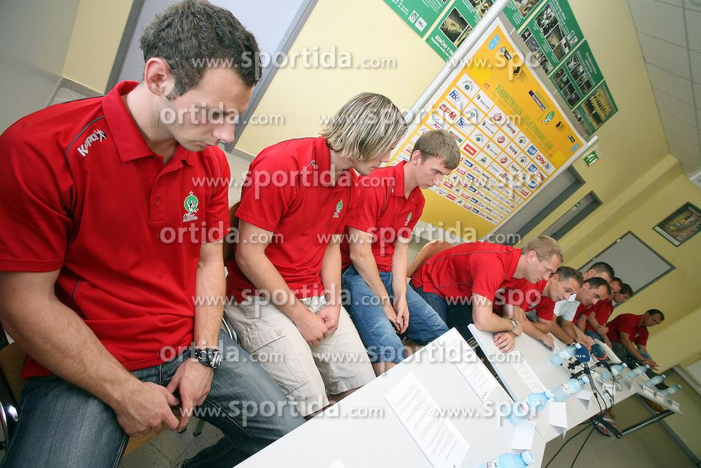Press conference (L Boris Vodisek,Tomas Reznicek, Alexey Peskov, Edi Koksarov and Tone Tiselj) of handball club RK Celje Pivovarna Lasko before new season 2008/2009, on September 2, 2008 in Celje, Slovenia. (Photo by Vid Ponikvar / Sportal Images)