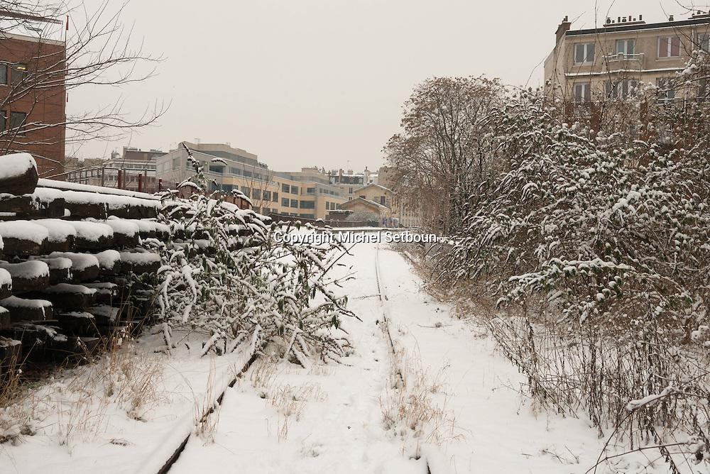 France. Paris 19th district, the petite ceinture, , gare de Flandres section , the former train line / la petite ceinture, l'ancienne voie de chemin de fer qui faisait le tour de Paris. dans le 19 em arrondissement
