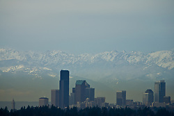 North America, United States, Washington, Seattle, Olympic Mountains viewed from Bellevue on a smoggy day.