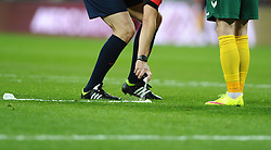 Referee, Kaj Natri (Finland)  uses spray  - Photo mandatory by-line: Joe Meredith/JMP - Mobile: 07966 386802 - 27/03/2015 - SPORT - Football - London - Wembley Stadium - England v Lithuania - UEFA EURO 2016 Qualifier