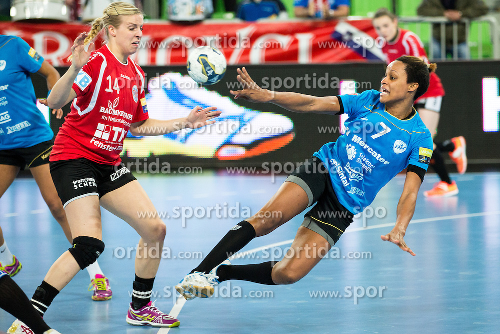 Allison Marie Pineau of RK Krim Mercator during handball match between RK Krim Mercator (SLO) and Thüringer HC (GER) in 6th Round of Women's EHF Champions League 2014/15, on January 31, 2015 in Arena Stozice, Ljubljana, Slovenia. Photo by Matic Klansek Velej / Sportida