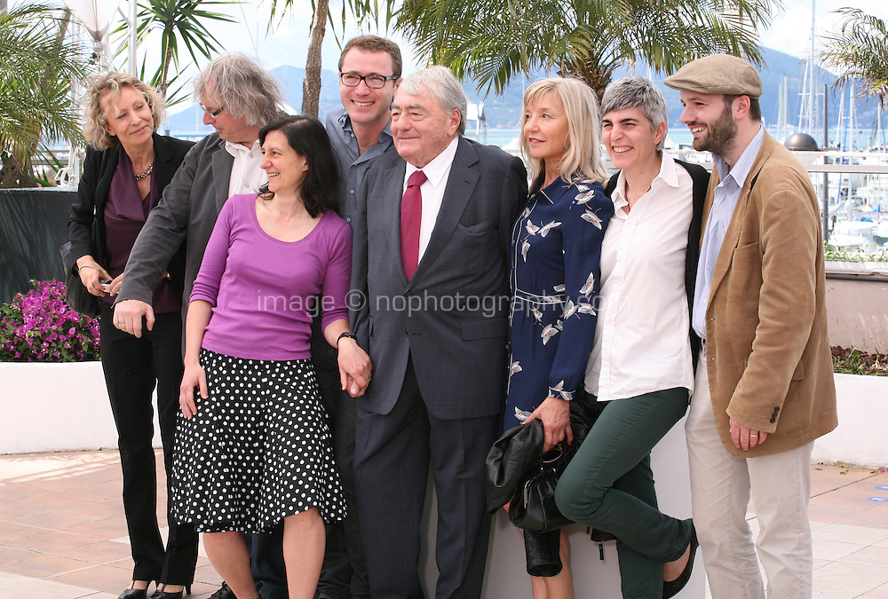 Producer Danny Krausz, assistant director Laura Koeppel, producer David Frenkel, director Claude Lanzmann, editor Chantal Hymans, post producer Christina Crassaris and sound designer Manuel Grandpierre at the Le Dernier Des Injustes film photocall at the Cannes Film Festival 19th May 2013