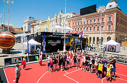 Tomislav Zubcic and Luka Babic with kids at FIBA Basketball World Cup Spain 2014 Trophy Tour, on June 22, 2014 in Ban Jelacic Square, Zagreb, Croatia. Photo By Vid Ponikvar / Sportida