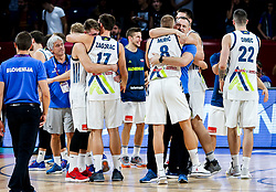 Luka Doncic of Slovenia, Sasa Zagorac of Slovenia, Edo Muric of Slovenia, Rado Trifunovic, assistant coach of Slovenia celebrate after winning during basketball match between National Teams of Slovenia and Latvia at Day 13 in Round of 16 of the FIBA EuroBasket 2017 at Sinan Erdem Dome in Istanbul, Turkey on September 12, 2017. Photo by Vid Ponikvar / Sportida