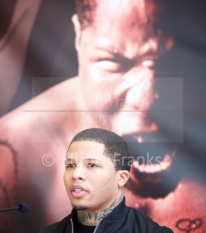 Floyd Mayweather Jr & Frank Warren press conference at The Savoy Hotel, London, Great Britain <br /> 7th March 2017 <br /> <br /> <br /> <br /> Gervonta Davis <br /> (an American professional boxer who has held the IBF junior lightweight title since January 2017)<br /> <br /> <br /> <br /> Photograph by Elliott Franks <br /> Image licensed to Elliott Franks Photography Services