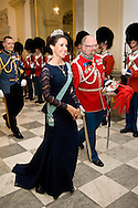 15.04.2015. Copenhagen, Denmark. Princess Marie attended a Gala Dinner at Christiansborg Palace on the eve of The 75th Birthday of Queen Margrethe of Denmark.Photo:© Ricardo Ramirez