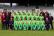 Lancashire County Cricket Club PhotoCall 2017 at Old Trafford, Manchester, England on 31 March 2017. Photo by Craig Galloway.<br /> <br /> Lancashire's squad in the One Day Cup Green Kit.<br /> <br /> L-R: (Players only)<br /> Back Row - Jordan Clark, Daniel Lamb, Matthew Parkinson, Brooke Guest, Josh Bohannon, Rob Jones.<br /> Middle Row - Saqib Mahmood, Toby Lester, Jordan Clark, Tom Bailey, Liam Livingstone, Dane Vilas, Arron Lilley, Luke Procter.<br /> Front Row - Stephen Parry, Karl Brown, James Anderson, Steven Croft, Kyle Jarvis, Simon Kerrigan, Haseeb Hameed.