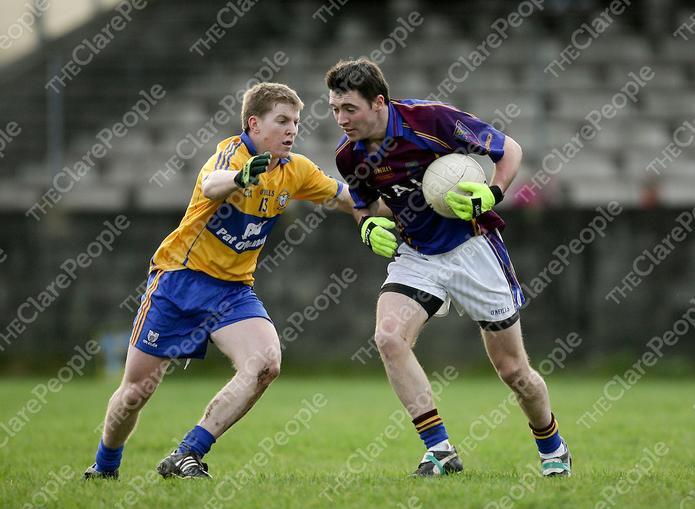 08.01.12<br /> McGrath Cup Football 2012, Clare verses UL, Doonbeg Co. Clare. Clare's Podge Collins in action against Ul's Matt Culloty. Pic Alan Place Press 22.
