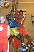 Thursday 26th April, 2007. Craig Pringle collides with a Lakers defender during Barking and Dagenham Erkenwald's EMBL Play Off semi-final against Lakers at Sydney Russell. Erkenwald won the game 90 - 69.