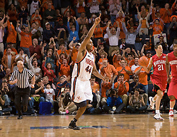 Virginia guard Sean Singletary (44) reacts after hitting a three pointer against Maryland, the 1,998th point of his college career.  Singletary became the 5th player in UVA history to score over 2,000 points later in the game.  The Virginia Cavaliers defeated the Maryland Terrapins 91-76 at the University of Virginia's John Paul Jones Arena  in Charlottesville, VA on March 9, 2008.