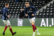 Northampton Town defender Charlie Goode  warming up during the The FA Cup match between Derby County and Northampton Town at the Pride Park, Derby, England on 4 February 2020.
