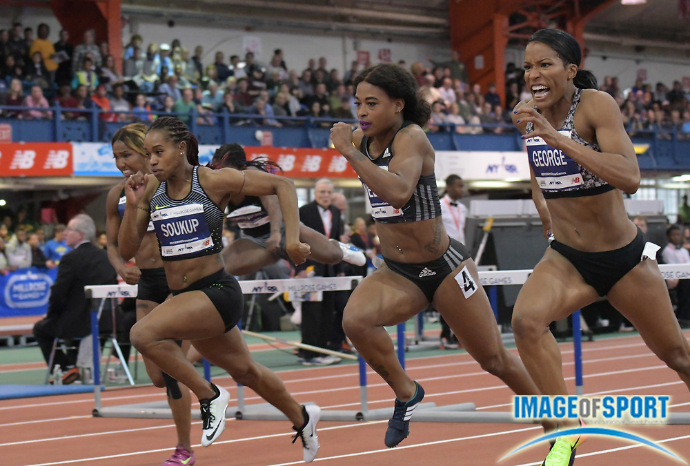 Feb 11, 2017; New York, NY, USA; Phylicia George (CAN), right, defeats Sharika Nelvis (USA), center,  and Janay DeLoach Soukup (USA)  to win the women's 60m hurdles in 7.98 during the 110th Millrose Games at The Armory.