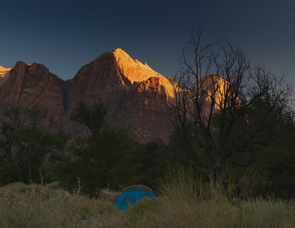 Early morning on a campground near the Pa'rus Trail, Zion National Park, Utah