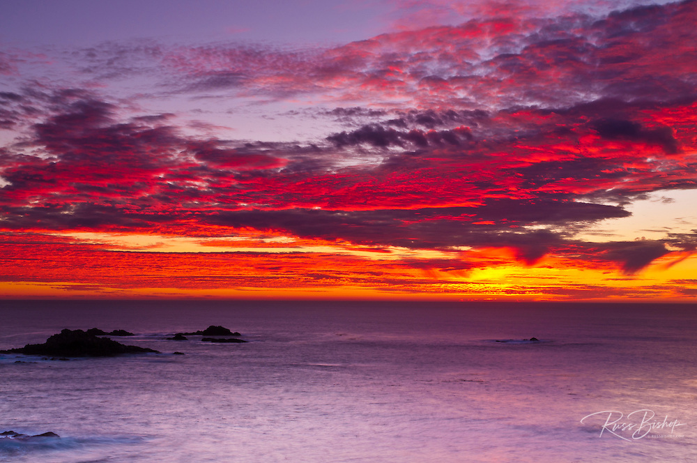 Sunset over the Pacific Ocean, Point Lobos State Reserve, Carmel, California