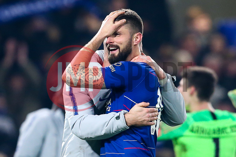 Olivier Giroud of Chelsea celebrates his side's win over Tottenham Hotspur to reach the Final of the Carabao Cup - Mandatory by-line: Robbie Stephenson/JMP - 24/01/2019 - FOOTBALL - Stamford Bridge - London, England - Chelsea v Tottenham Hotspur - Carabao Cup