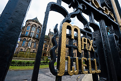 Ornate gate with names of famous academics at University of Glasgow, Scotland, United Kingdom