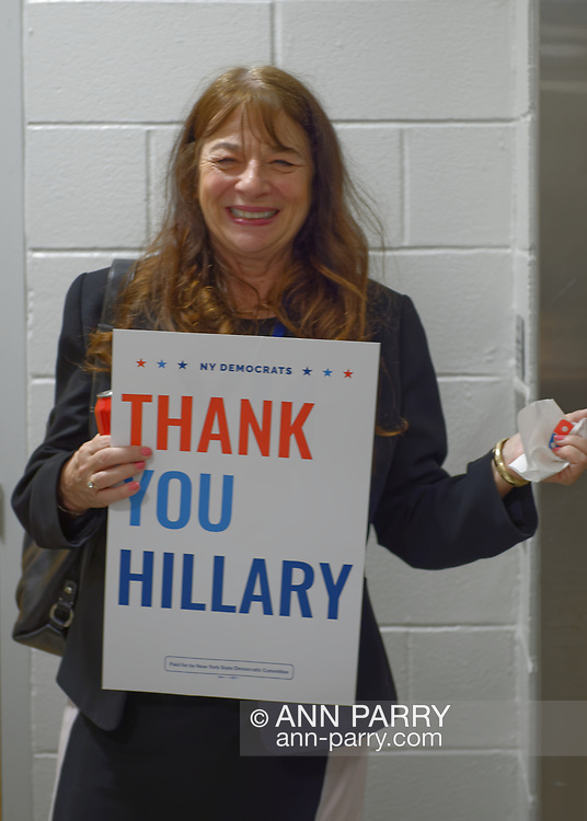 Hempstead, New York, USA. May 23, 2018. DIANE COSTELLO, MOMS DEMAND ACTION Legislative Lead, is waiting for elevator in convention hall during Day 1 of New York State Democratic Convention at Hofstra University.