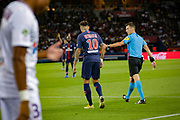 PSG Neymar and referee Benoit Bastien during the French championship L1 football match between Paris Saint-Germain (PSG) and Caen on August 12th, 2018 at Parc des Princes, Paris, France - Photo Geoffroy Van der Hasselt / ProSportsImages / DPPI