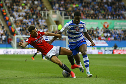 Ryan Fredericks of Fulham is tackled by Tyler Blackett of Reading - Mandatory by-line: Jason Brown/JMP - 16/05/2017 - FOOTBALL - Madejski Stadium - Reading, England - Reading v Fulham - Sky Bet Championship Play-off Semi-Final 2nd Leg