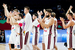 Players of Latvia celebrate after winning during basketball match between National Teams of Latvia and Montenegro at Day 11 in Round of 16 of the FIBA EuroBasket 2017 at Sinan Erdem Dome in Istanbul, Turkey on September 10, 2017. Photo by Vid Ponikvar / Sportida